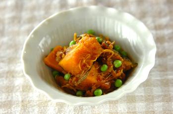 牛丼でカボチャの煮物