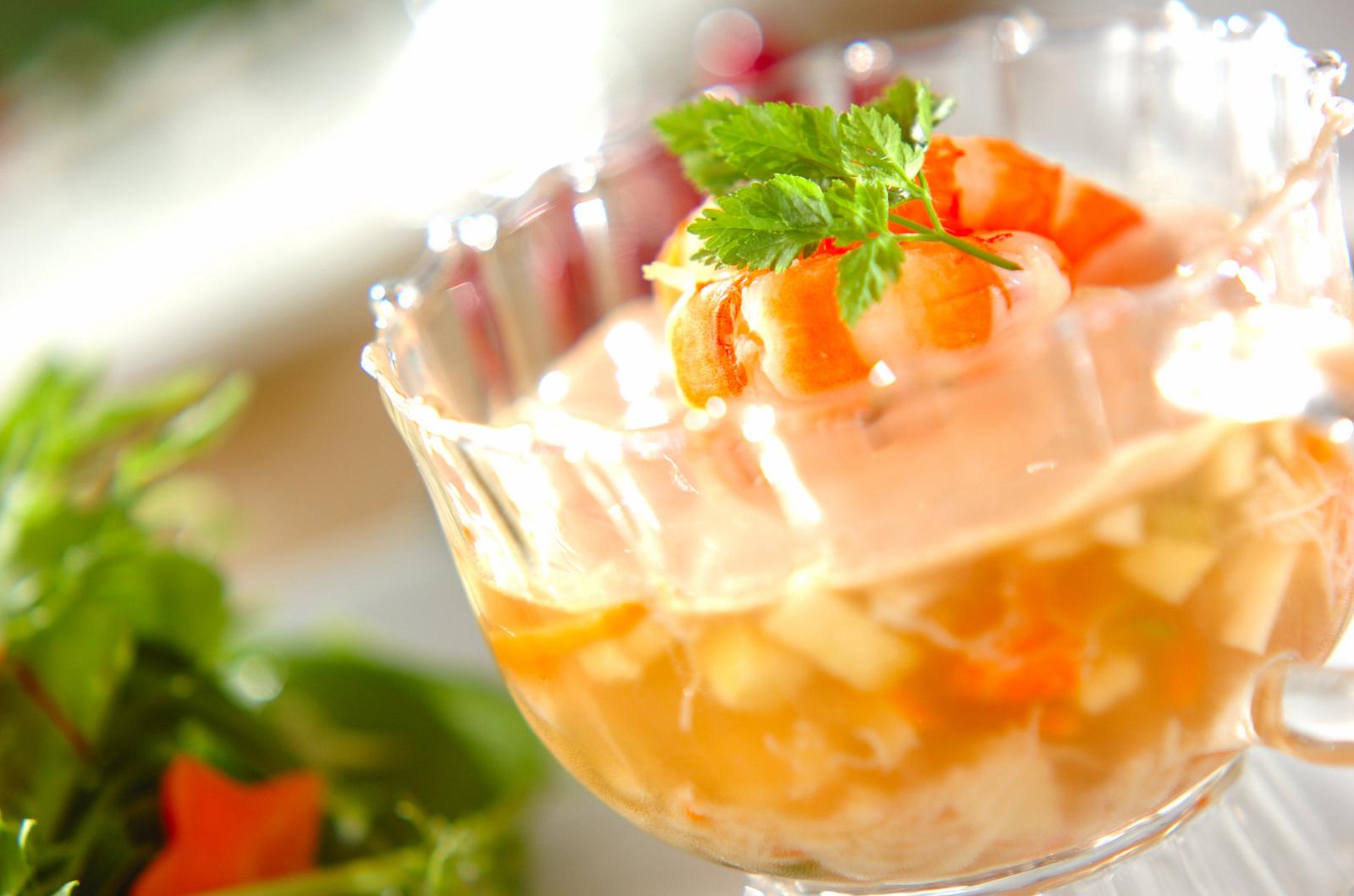 蟹と野菜のゼリー寄せ