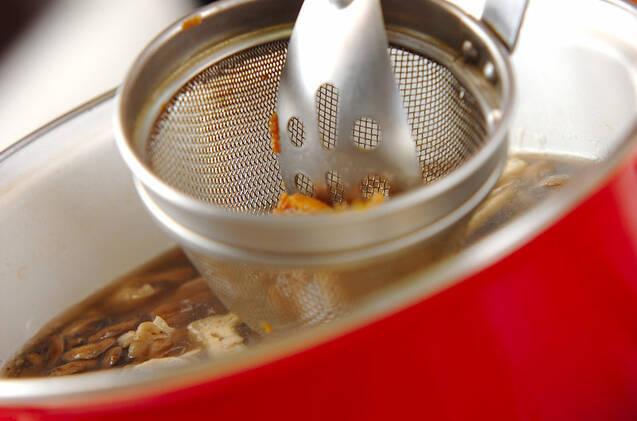 キノコたっぷりみそ汁の作り方の手順4