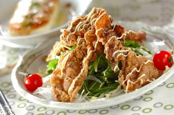 カリカリ豚と水菜のサラダ仕立て