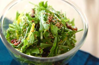 水菜と漬物のサラダ