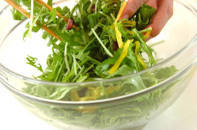 水菜と漬物のサラダの作り方の手順4