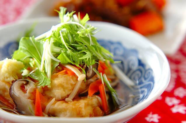 たっぷり野菜あんかけの揚げ出し豆腐