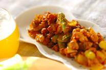 豆とアスパラのカレー炒め