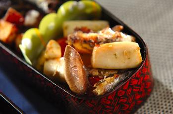 オイルサーディンとバジル焼き野菜