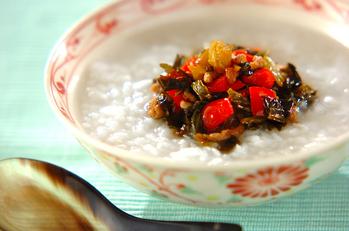 高菜とひき肉のお粥