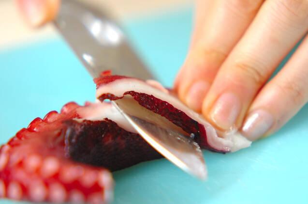 タコとキクラゲの酢みそ和えの作り方の手順1