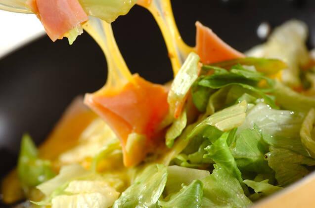スピード副菜!レタスとハムのふんわり卵の作り方の手順4