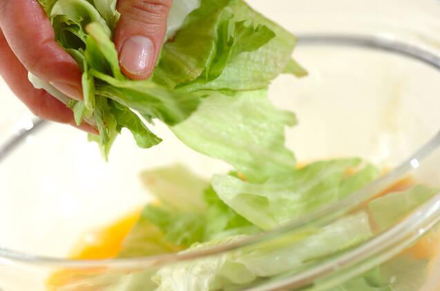 スピード副菜!レタスとハムのふんわり卵の作り方の手順3