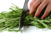 水菜と揚げの炒め物の下準備1