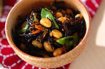 ハチミツ入り大豆とヒジキの煮物