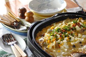 白菜とカキのカレーグラタン
