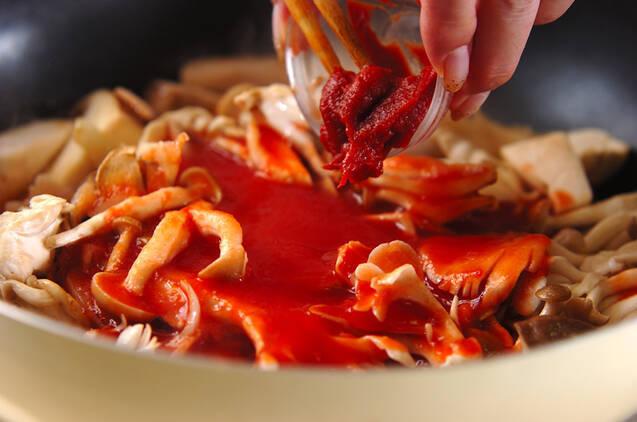 キノコのトマトソースパスタの作り方の手順4