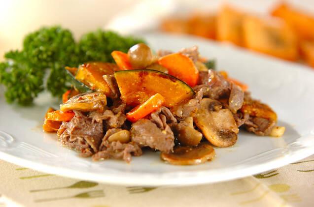 炒め牛肉とカボチャのマリネ