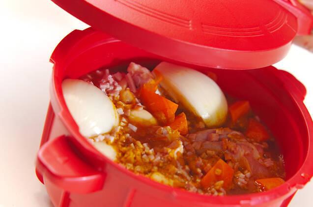 レンジ圧力鍋で野菜と手羽元のスープカレーの作り方の手順6