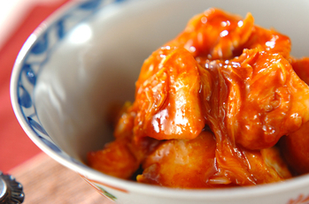 鶏と白ネギの韓国風みそ和え