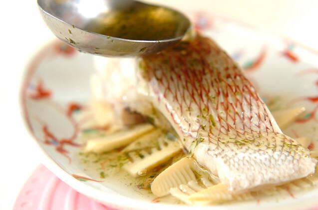鯛とタケノコ蒸し青のりあんかけの作り方の手順7
