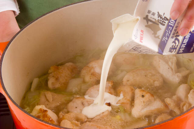 あっさりおいしい鶏むね肉と白菜のクリーム煮の作り方の手順8