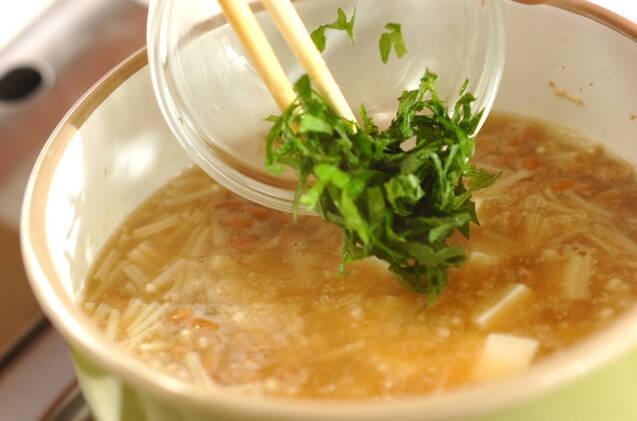 エノキ入り納豆汁の作り方の手順5