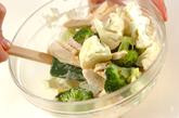 レンジで蒸し鶏のからしマヨ和えの作り方1