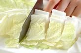 白菜のお浸しの下準備1
