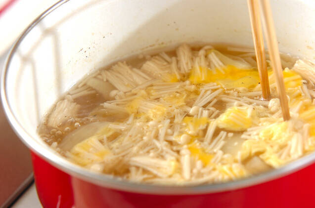 チーズ入りかきたま汁の作り方の手順5