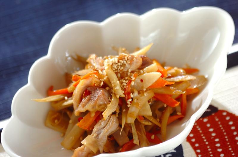 1. きんぴらチキン根菜