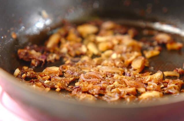 ミョウガの佃煮混ぜご飯の作り方の手順2
