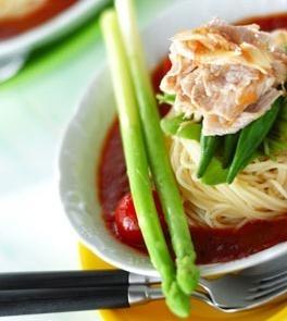 冷製トマトスープパスタ