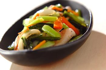 小松菜と豚トロの塩炒め