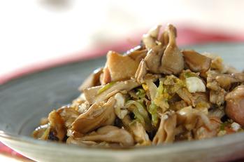 鶏とマイタケの卵炒め