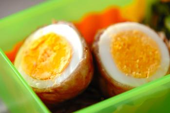 ゆで卵の豚肉巻き