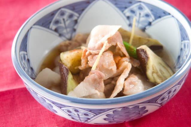 ナスと豚バラ肉のレンジ煮