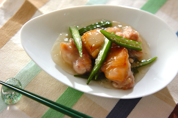 鶏肉とオクラ炒め