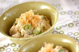 ソラ豆の豆腐クリーム和え