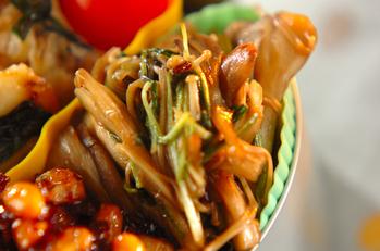 水菜とキノコの炒り煮