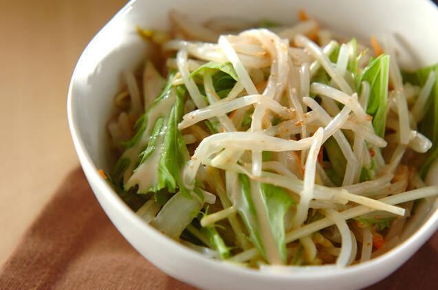 白い器に盛られたモヤシと白菜のサラダ