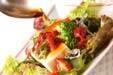 海藻と豆腐のサラダの下準備1