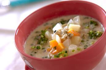 アサリ缶の豆乳スープ煮