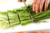 水菜の塩もみサラダの下準備1