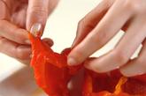 パプリカとナスのレンジでナムルの下準備1