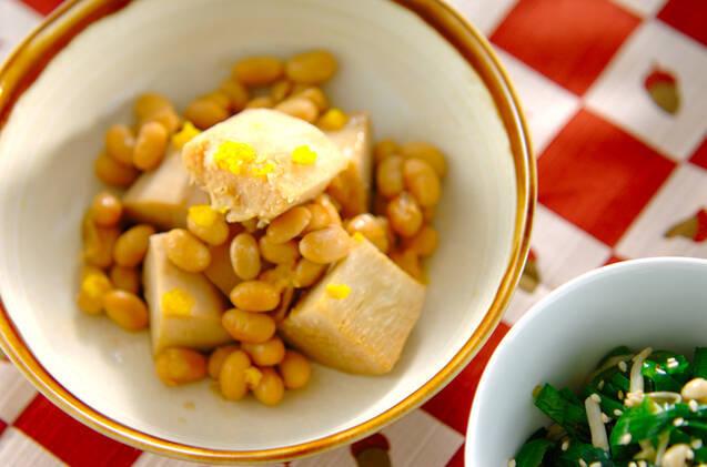 たけのこ芋と大豆の煮物