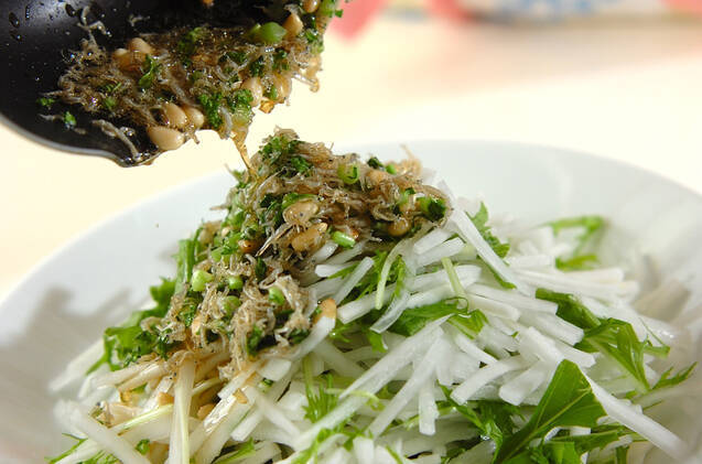 大根と水菜のパリパリジャコサラダ 【大根上部+大根葉】の作り方の手順3
