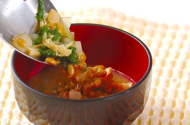 油揚げ入り納豆汁の作り方の手順6