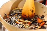 煮ヒジキ入り混ぜご飯の作り方1