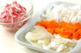 豚バラ肉とキムチの甘辛炒めの下準備1