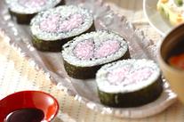 ハートの巻き寿司