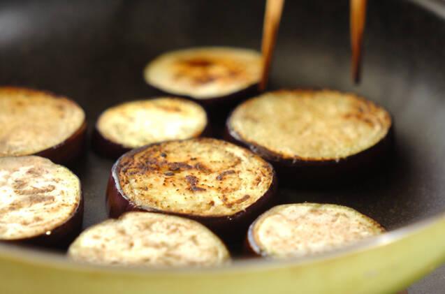 焼き米ナスの肉みそがけの作り方の手順4