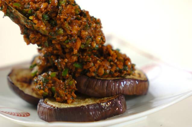 焼き米ナスの肉みそがけの作り方の手順7