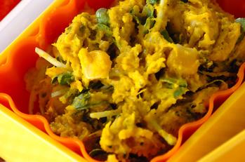 カボチャと貝われ菜のサラダ